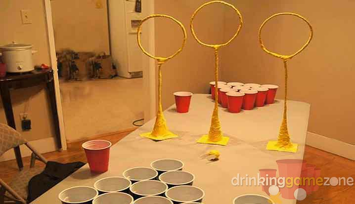 Quidditch pong drinking game zone for Table quidditch