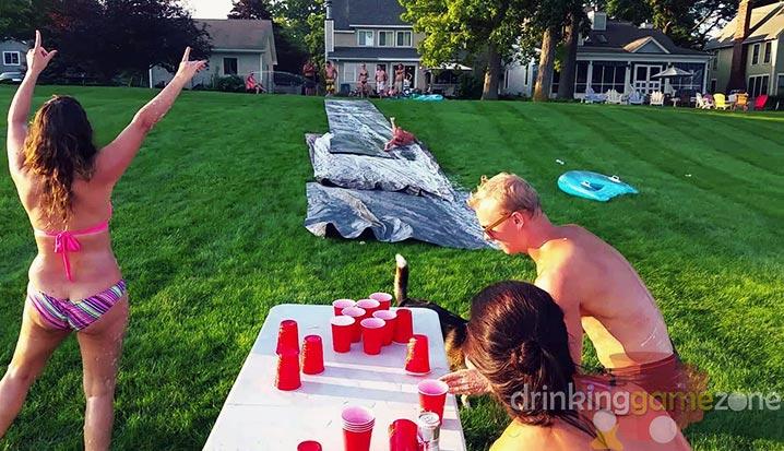 Backyard Drinking Games slip n flip drinking game